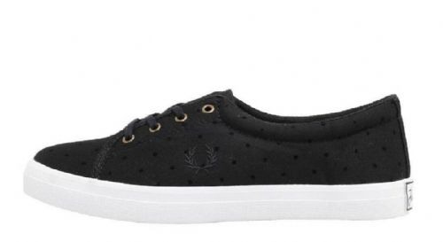 Fred Perry Women's Aubyn Flocked Polka Dot Twill Pumps Black Brand New Boxed